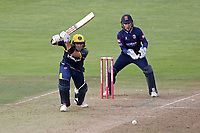 Colin Ingram in batting action for Glamorgan as Adam Wheater looks on from behind the stumps during Glamorgan vs Essex Eagles, Vitality Blast T20 Cricket at the Sophia Gardens Cardiff on 7th August 2018