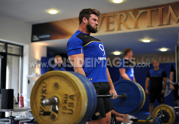 Guy Mercer in the gym. Bath Rugby pre-season training on July 21, 2015 at Farleigh House in Bath, England. Photo by: Patrick Khachfe / Onside Images
