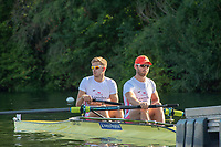 """Henley on Thames, United Kingdom, 3rd July 2018, Saturday,  """"Henley Royal Regatta"""",  Heat of the Silver Goblets and Nickalls' Challenge Cup, Stroke Harry GLENISTER, bow George ROSSITER, Leander M2-, at the Start, View, Henley Reach, River Thames, Thames Valley, England, UK."""