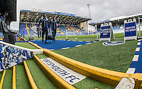 Garry Thompson and Aaron Pierre of Wycombe Wanderers arrive prior to the FA Cup 1st round match between Portsmouth and Wycombe Wanderers at Fratton Park, Portsmouth, England on the 5th November 2016. Photo by Liam McAvoy.