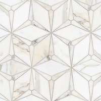 Cassiopeia, a stone waterjet mosaic, show in polished Calacatta Gold.