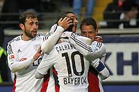 Torjubel Bayer Leverkusen beim 0:2 - Eintracht Frankfurt vs. Bayer 04 Leverkusen, Commerzbank Arena
