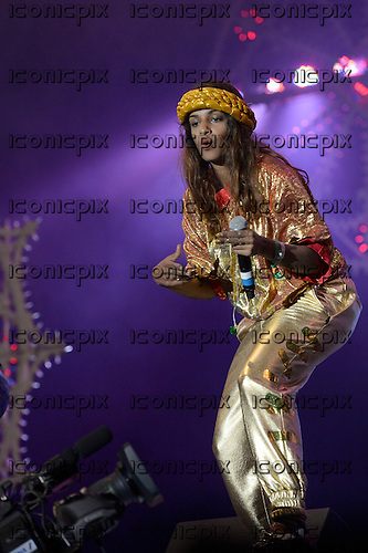 M.I.A. - performing live on the West Holts Stage on Day 2 of the 2014 Glastonbury Festival at Pilton Farm Somerset UK - 27 `Jun 2014.  Photo credit: George Chin/IconicPix