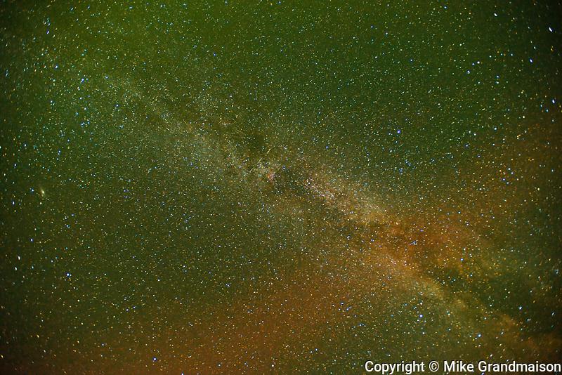 MIlky Way and northern lights (Aurora borealis) at Klotz Lake, Longlac, Ontario, Canada