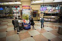 Travelers at the NJ Transit station in Penn Station in New York on Tuesday, March 8, 2016. New Jersey Transit rail workers planning on striking on Sunday, March 13 at 12:01AM if a deal with NJT is not hammered out. On Monday 160,000 riders  who use the rail system on a weekday will have to contend with contingency plans that can only accommodate 40 percent of them.  (© Richard B. Levine)