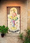 Ceramic tiles woman dancer advertising Mansabora cafe bar, Caceres, Extremadura, Spain