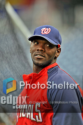 29 March 2008: Washington Nationals outfielder Elijah Dukes awaits his turn in the batting cage prior to an exhibition game against the Baltimore Orioles at Nationals Park, in Washington, DC. The matchup is the first professional game to be played in the new ballpark, prior to the upcoming official opening day inaugural game. ..Mandatory Photo Credit: Ed Wolfstein Photo