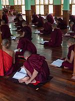 A Monastery in Sagaing, Mandalay, Myanmar Study session