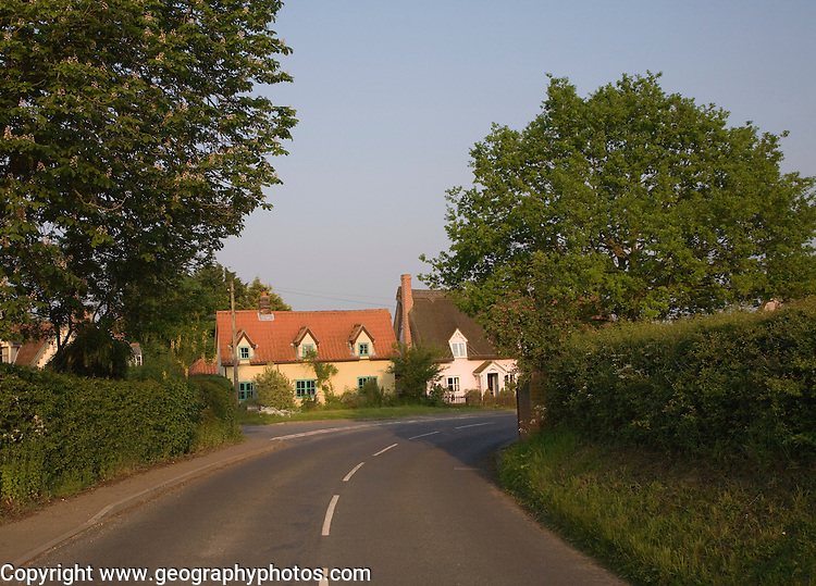 Country road and cottages at Hartest, Suffolk, England