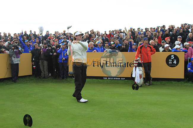 2010 Ryder Cup at the Celtic Manor twenty ten course, Newport Wales, 1/10/2010 on day one of play After play restarted at 5 pm..Bubba Watson teeing off on the 5th..Picture Fran Caffrey/www.golffile.ie.