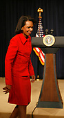 United States Secretary of State Condoleezza Rice arrives prior to US President George W. Bush making a statement about the Columbia Free Trade agreement in the Eisenhower Building, Washington DC, April 07, 2008. <br /> Credit: Aude Guerrucci / Pool via CNP