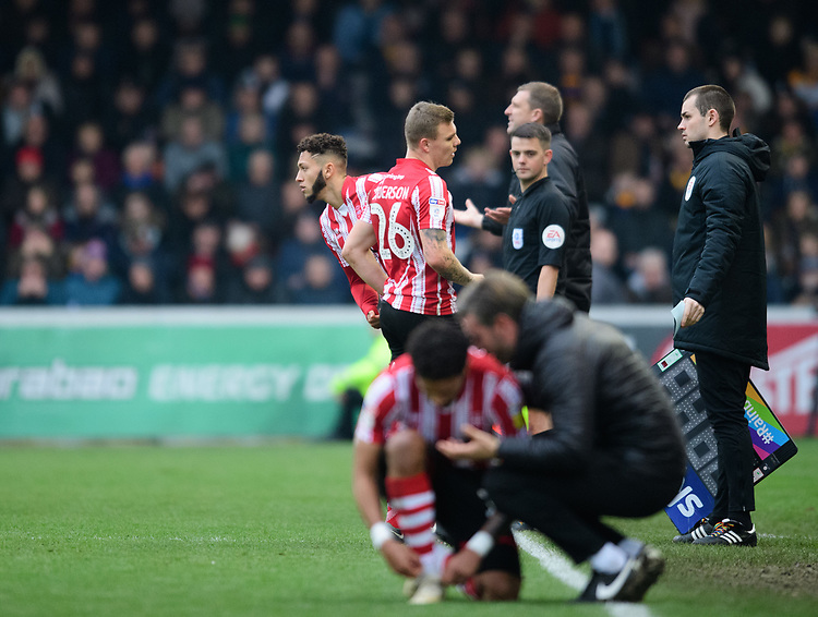 Lincoln City's Kellan Gordon replaces Lincoln City's Harry Anderson as a second half substitute<br /> <br /> Photographer Chris Vaughan/CameraSport<br /> <br /> The EFL Sky Bet League Two - Lincoln City v Mansfield Town - Saturday 24th November 2018 - Sincil Bank - Lincoln<br /> <br /> World Copyright © 2018 CameraSport. All rights reserved. 43 Linden Ave. Countesthorpe. Leicester. England. LE8 5PG - Tel: +44 (0) 116 277 4147 - admin@camerasport.com - www.camerasport.com