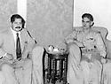 Iraq 1959 .Sheikh Latif coming out of jail and visiting in Baghdad Abdul Karim Qasim.Irak 1959.Sheikh Latif sortant de prison rencontre a Bagdad Abdul Karim Qasim