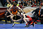 CLEVELAND, OH - MARCH 16: Matthew Kolodzik, of Princeton, wrestles Ronald Perry, of Lock Haven, in the 149 weight class  during the Division I Men's Wrestling Championship held at Quicken Loans Arena on March 16, 2018 in Cleveland, Ohio. (Photo by Jay LaPrete/NCAA Photos via Getty Images)