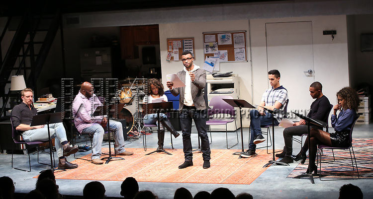 """Cast of """"Imagine Sisyphus Happy"""" during the 2018 Presentation of New Works by the DGF Fellows on October 15, 2018 at the Playwrights Horizons Theatre in New York City."""