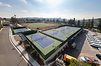 The McKinnon Family Tennis Center and Robinson Terrace at Occidental College in Los Angeles, California, Jan. 22, 2020. The 25,000 square-foot facility has had two additional tennis courts added to make a six-court home venue.<br /> (Photo by Marc Campos, Occidental College Photographer)