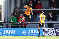 Luke Gambin of Barnet celebrates scoring the opening goal against Luton Town during the Sky Bet League 2 match between Barnet and Luton Town at The Hive, London, England on 28 March 2016. Photo by David Horn.