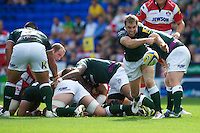 Tomas O'Leary of London Irish passes during the Aviva Premiership match between London Irish and Gloucester Rugby at the Madejski Stadium on Saturday 8th September 2012 (Photo by Rob Munro)