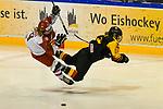 04.01.2020, BLZ Arena, Füssen / Fuessen, GER, IIHF Ice Hockey U18 Women's World Championship DIV I Group A, <br /> Deutschland (GER) vs Daenemark (DEN), <br /> im Bild spektakulaere Flugeinlage von Hanna Aldous (DEN, #4) und Svenja Voigt (GER, #11), anschliesend 5 + Spieldauer fuer Svenja Voigt (GER, #11)<br /> <br /> Foto © nordphoto / Hafner