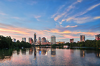 Austin skyline from the new boardwalk.  We were really happy we got a nice pink sunset with wispy clouds and a nice reflection of the city in Ladybird lake on this day as many times we lose clouds by the end of the day.  Also we were not alone as the river boats, canoes and other all came out to enjoy the sunset over the city.