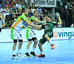 09.06.2019, Max Schmeling Halle, Berlin, GER, DHB,  1.HBL,  FUECHSE BERLIN VS. HSG Wetzlar,<br /> DHB regulations prohibit any use of photographs as image sequences and/or quasi-video<br /> im Bild Matthias Zachrisson (Fuechse Berlin #21), <br /> Olle Forsell Schefvert (HSG Wetzlar #25), Flip Mirkulovski (HSG Wetzlar #13)<br /> <br />      <br /> Foto © nordphoto / Engler