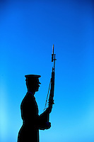 Silhouette of soldier on guard at the Tomb of the Unknown Soldier in Washington DC.