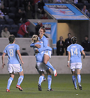 April 25, 2009 Boston Breakers vs. Chicago Red Stars--#10 Carli Lloyd of the Chicago Reds Stars celebrate after scoring in the 21st minute.  Red Stars win the match 4-0.