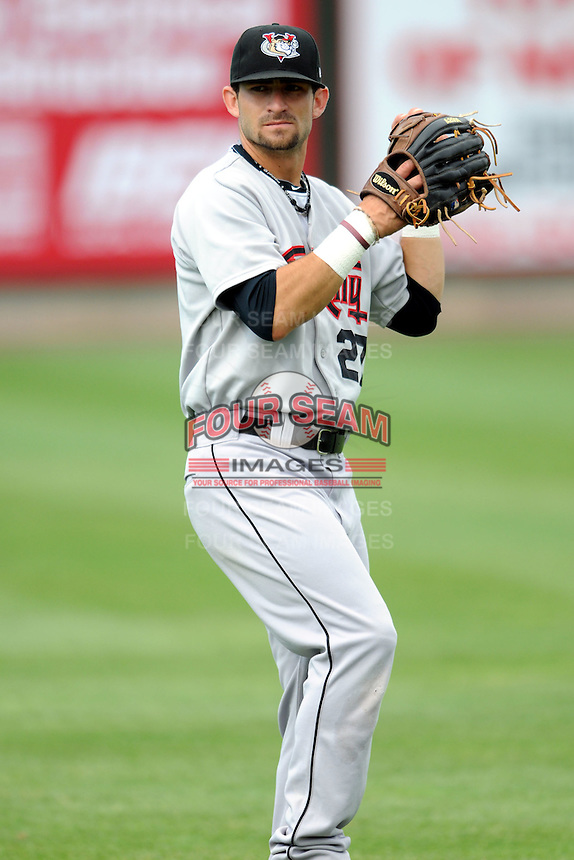 Tri-City Valley Cats outfielder Andrew Aplin #27  prior to a game versus the Lowell Spinners at LeLacheur Park In Lowell, Massachusetts on July 1, 2012.   (Ken Babbitt/Four Seam Images)