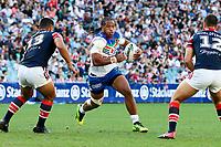 Agnatius Paasi on attack. Sydney Roosters v Vodafone Warriors, NRL Rugby League. Allianz Stadium, Sydney, Australia. 31st March 2018. Copyright Photo: David Neilson / www.photosport.nz