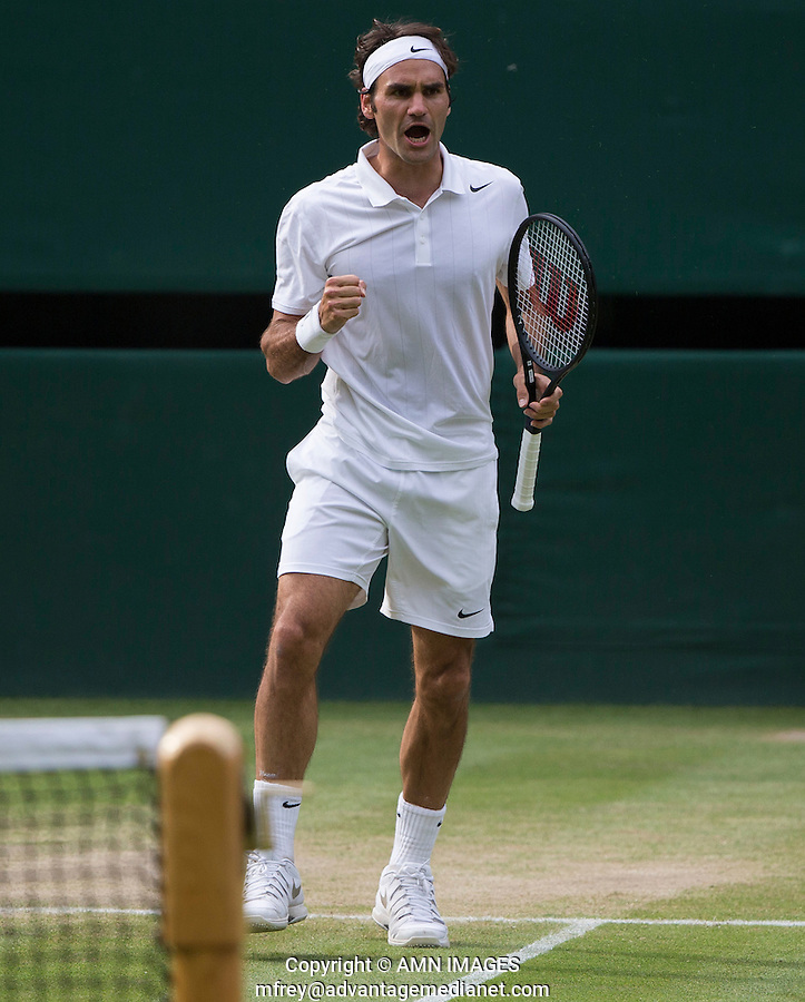 ROGER FEDERER (SUI)<br /> <br /> The Championships Wimbledon 2014 - The All England Lawn Tennis Club -  London - UK -  ATP - ITF - WTA-2014  - Grand Slam - Great Britain -  2nd July 2014. <br /> <br /> &copy; AMN IMAGES