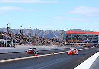 Feb 26, 2017; Chandler, AZ, USA; NHRA pro stock driver Greg Anderson (left) defeats Drew Skillman in the final round of the Arizona Nationals at Wild Horse Pass Motorsports Park. Mandatory Credit: Mark J. Rebilas-USA TODAY Sports