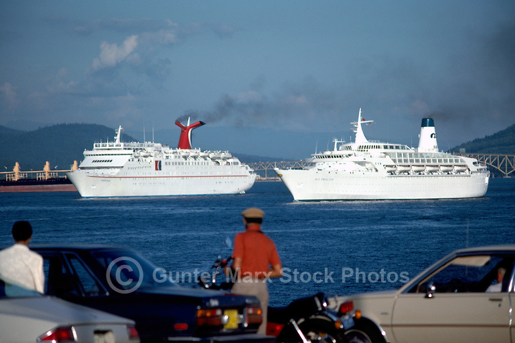 Cruise Ships leaving Port of Vancouver Harbour and Burrard Inlet, Vancouver, BC, British Columbia, Canada