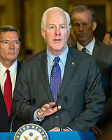 United States Senator John Cornyn (Republican of Texas)  speaks to reporters following the Republican Party luncheon in the United States Capitol in Washington, DC on Tuesday, July 11, 2017. Photo Credit: Ron Sachs/CNP/AdMedia