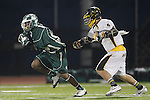 Placentia, CA 05/14/10 - Tajee Mobley (MC # 25) proved to be an agile competitor the Foothill defense had difficulty dealing with during the Mira Costa vs Foothill boys lacrosse game for the 2010 Los Angeles / Orange County CIF Championship.    ©2010 Dirk Dewachter  www.dewachter.net