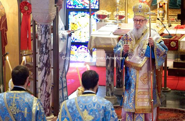 WATREBURY CT. 03 May 2015-050315SV02-His Eminence, Archbishop Demetrios of the Greek Orthodox Archdiocese of North America presides over a mass at the Holy Trinity Greek Orthodox Church in Waterbury Sunday. <br /> Steven Valenti Republican-American