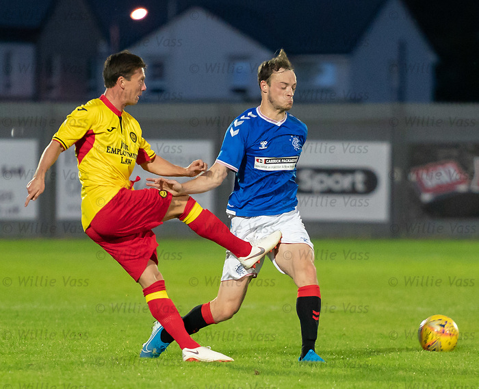 26.08.2019 Rangers Colts v Partick Thistle: Brandon Barker injured as he takes a tackle from Joe Cardle during the second half of the Glasgow Cup match