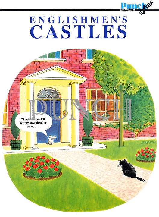 """Clear off, or I'll set my stockbroker on you."" (Punch Extra. Englishmen's Castles, front cover)."