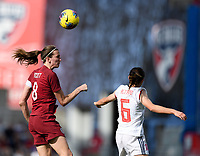 FRISCO, TX - MARCH 11: Jill Scott #8 of England heads the ball over Aitana Bonmati #6 of Spain during a game between England and Spain at Toyota Stadium on March 11, 2020 in Frisco, Texas.