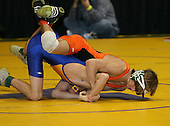 Zeke Thompson and Justin Skretny  wrestle at the 112 weight class during the NY State Wrestling Championships at Blue Cross Arena on March 8, 2008 in Rochester, New York.  (Copyright Mike Janes Photography)