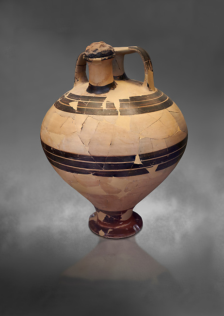 Mycenaean styrup jar from the House of the oil merchant, Mycenae Acropolis 14-13thj Cent BC. National Archaeological Museum Athens. Cat No 7626.  Grey art Background
