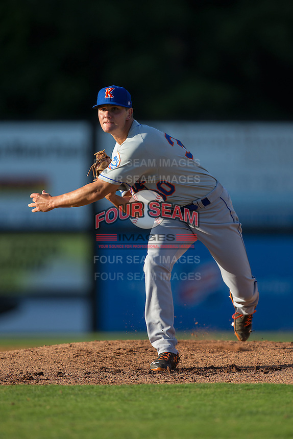 Kingsport Mets starting pitcher Max Wotell (30) follows through on his delivery against the Danville Braves at American Legion Post 325 Field on July 9, 2016 in Danville, Virginia.  The Mets defeated the Braves 10-8.  (Brian Westerholt/Four Seam Images)