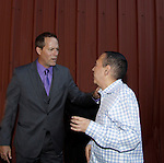"""Guiding Light's Robert Bogue chats and stars with actor Gilbert Gottfried who was the host on closing nightat Hoboken International Film Festival - Closing Night June 5, 2014  at the Paramount Theatre, Middletown, New York. - Opening night party and ceremony and Opening Night world-wide Premiere of Star-Filled Film """"Rock Story"""", a rock n'roller coaster drama/mystery starring Mandy Bruno, Robert Bogue and more.  (Photo by Sue Coflin/Max Photos)"""