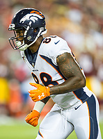 Landover, MD - August 24, 2018: Denver Broncos wide receiver Demaryius Thomas (88) in action during preseason game between the Denver Broncos and Washington Redskins at FedEx Field in Landover, MD. The Broncos defeat the Redskins 29-17. (Photo by Phillip Peters/Media Images International)