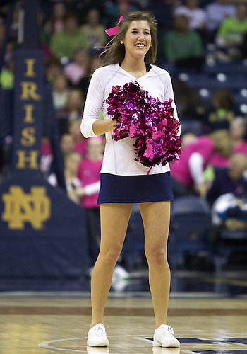February 02, 2013:  Notre Dame cheerleader performs during NCAA Basketball game action between the Notre Dame Fighting Irish and the Cincinnati Bearcats at Purcell Pavilion at the Joyce Center in South Bend, Indiana.  Notre Dame defeated Cincinnati 64-42.
