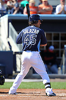 Tampa Bay Rays outfielder Jeff Salazar #45 at bat during a spring training game against the Baltimore Orioles at the Charlotte County Sports Park on March 5, 2012 in Port Charlotte, Florida.  (Mike Janes/Four Seam Images)