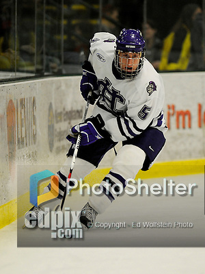 29 December 2007: Holy Cross Crusaders' defenseman Brent Franklin, a Senior from Grosse Pointe Farms, Michigan, in action against the University of Vermont Catamounts at Gutterson Fieldhouse in Burlington, Vermont. The Catamounts rallied in the final seconds of play to tie the game 1-1. After overtime, although the official result remained a tie game, the Cats moved up to the championship round by winning a sudden death shootout in the second game of the Sheraton/TD Banknorth Catamount Cup Tournament...Mandatory Photo Credit: Ed Wolfstein Photo