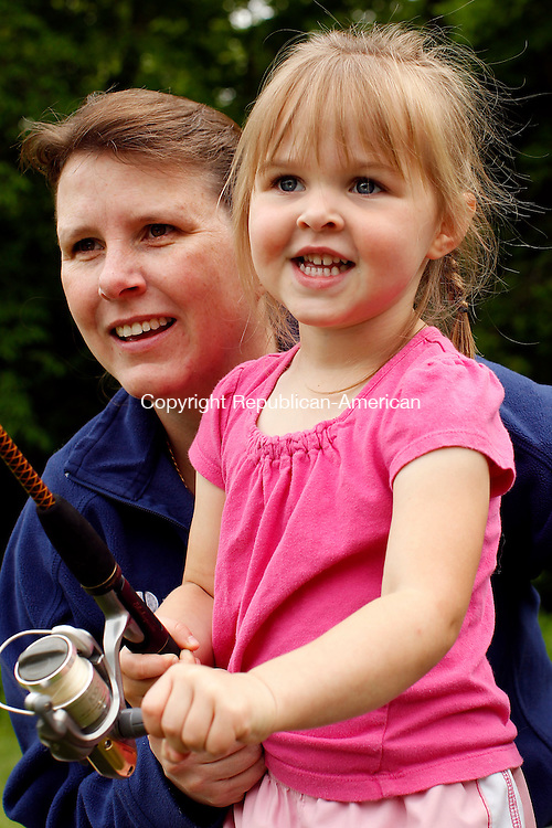 Roxbury, CT-22, May 2010-052210CM01 COUNTRY LIFE USE  Mary Ambruso, and her daughter, Kerstin, 3, of Roxbury spend the morning together at the Roxbury fishing derby Saturday morning. --Christopher Massa Republican-American