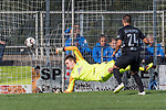 08.09.2018, pk-Sportpark, Cloppenburg, GER, FSP, SV Meppen vs Werder Bremen <br /> <br /> DFL REGULATIONS PROHIBIT ANY USE OF PHOTOGRAPHS AS IMAGE SEQUENCES AND/OR QUASI-VIDEO.<br /> <br /> im Bild / picture shows<br /> Deniz Undav (SV Meppen #24) mit Torschuss und Treffer zum 2:1 gegen Luca Plogmann (Werder Bremen #40), <br /> <br /> Foto &copy; nordphoto / Ewert