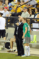 Abby XI head coach Paul Riley talks with Heather O'Reilly (10) during the Women's Professional Soccer (WPS) All-Star Game at KSU Stadium in Kennesaw, GA, on June 30, 2010.