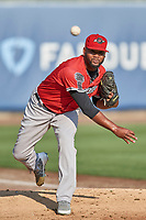 Nashville Sounds starting pitcher Raul Alcantara (55) throws before the game against the Salt Lake Bees at Smith's Ballpark on July 27, 2018 in Salt Lake City, Utah. The Bees defeated the Sounds 8-6. (Stephen Smith/Four Seam Images)